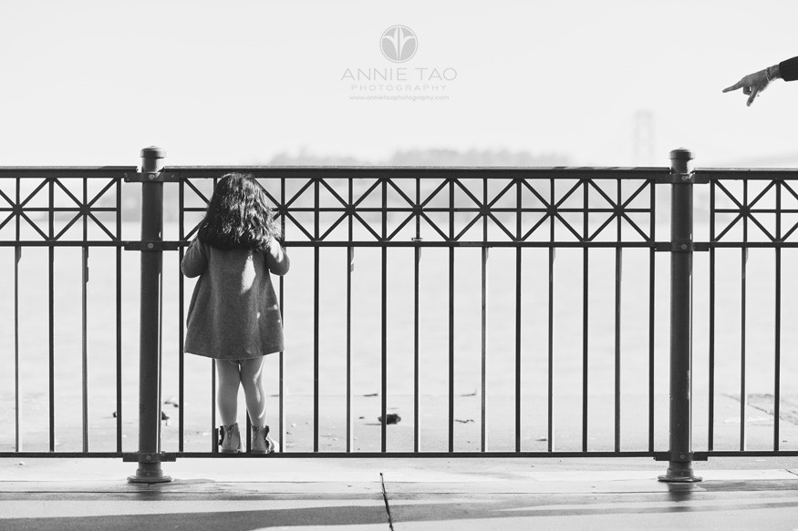 san-francisco-lifestyle-children-photography-preschooler-girl-climbing-metal-fence-at-pier-with-parent-pointing-bxw
