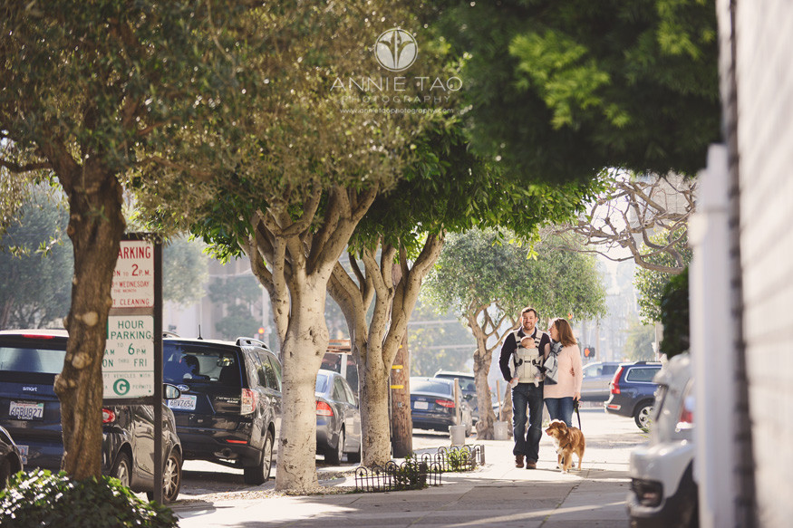 san-francisco-lifestyle-family-photography-parents-walking-dog-and-baby-in-city