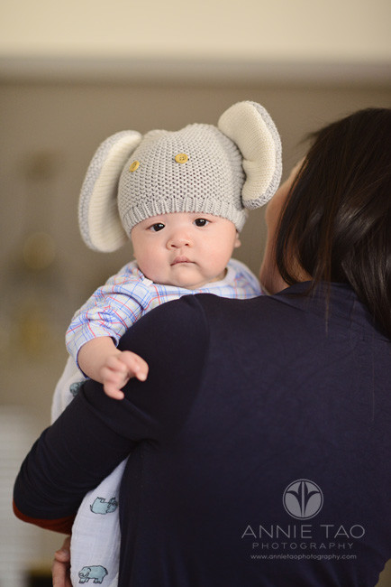 South-Bay-lifestyle-baby-photography-mom-holding-baby-with-elephant-hat