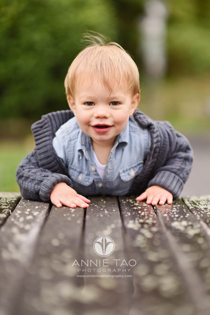 San-Francisco-lifestyle-baby-photography-smiling-toddler-boy-leaning-into-bench