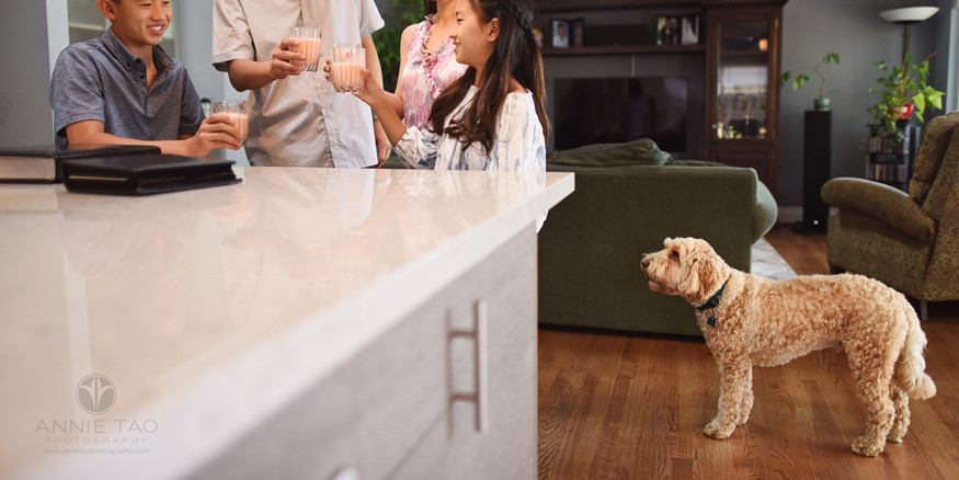 San-Francisco-Bay-Area-lifestyle-family-photography-family-toasting-while-puppy-watches-patiently-in-back