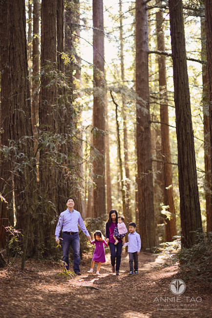 East-Bay-lifestyle-family-photography-family-holding-hands-and-walking-through-redwood-forest