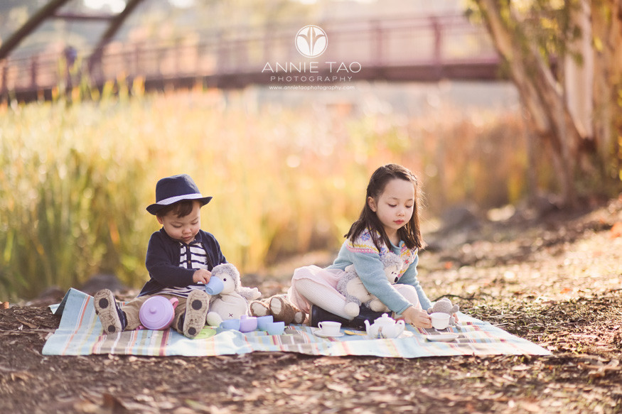 South-Bay-lifestyle-children-photography-toddler-and-preschooler-siblings-having-tea-party-with-stuffed-animals