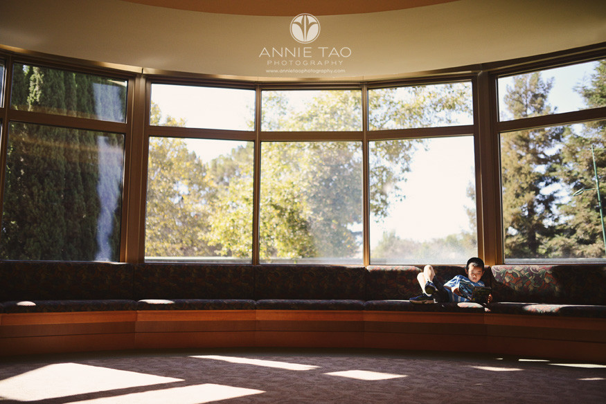 East-Bay-lifestyle-children-photography-library-young-boy-reading-on-a-long-bench-by-window