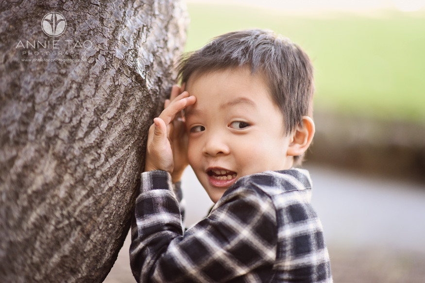 East-Bay-lifestyle-children-photography-young-boy-peeking-through-hands-by-tree