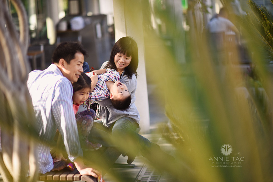 San-Francisco-lifestyle-family-photography-family-playing-on-bench-by-urban-garden