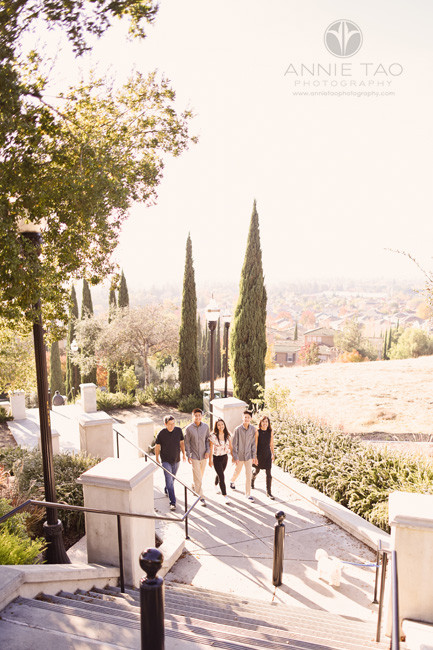 South-Bay-lifestyle-teen-young-adult-photography-family-walking-up-long-steps-on-hill