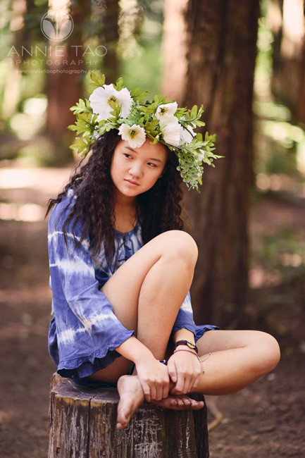 East-Bay-styled-photography-woodland-girl-sitting-on-stump-1