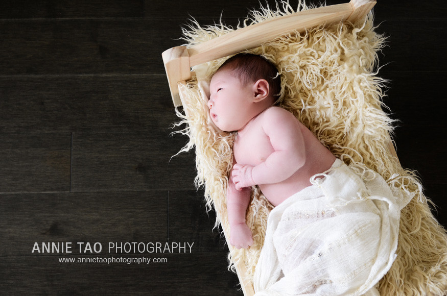 San-Francisco-Bay-Area-Newborn-Photography-baby-in-small-bed-downward-view
