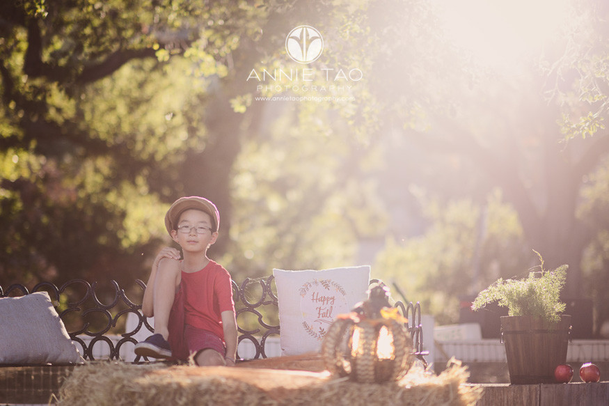 east-bay-styled-children-photography-boy-in-red-sitting-on-bench-sunflare