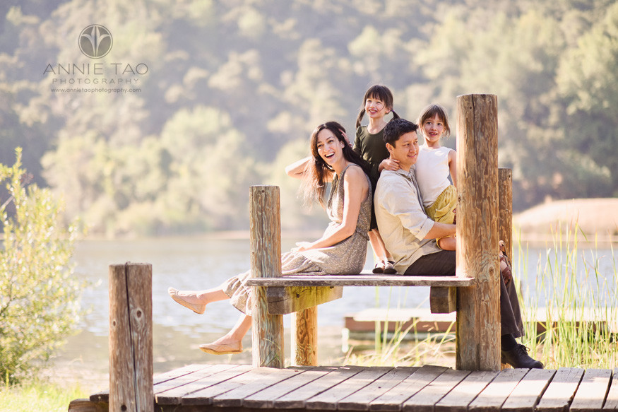 Bay-Area-lifestyle-family-photography-laughing-on-the-dock-by-lake