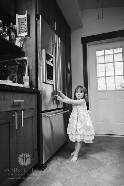 North-Bay-Marin-lifestyle-children-photography-toddler-girl-opening-refrigerator-BxW