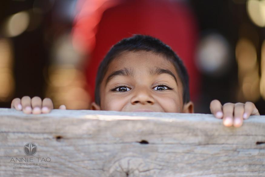 East-Bay-lifestyle-children-photography-boy-in-blue-looking-over-barn-door