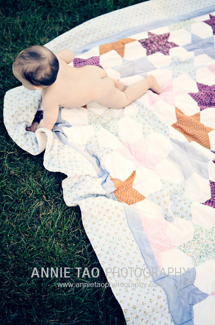 East-Bay-Lifestyle-Family-Photography-Naked-Baby-Crawling-off-Blanket-J