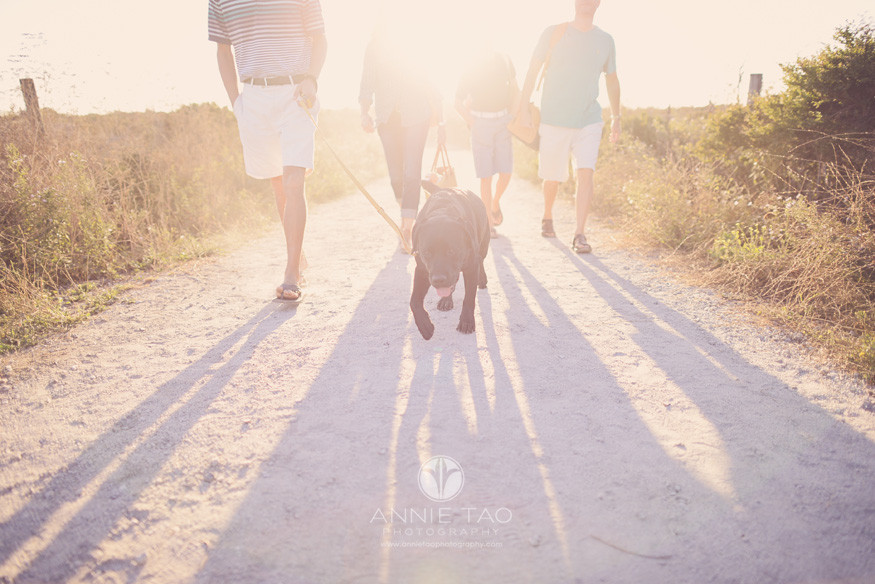 Bay-Area-lifestyle-family-photography-dog-leading-the-family-on-path-during-sunset