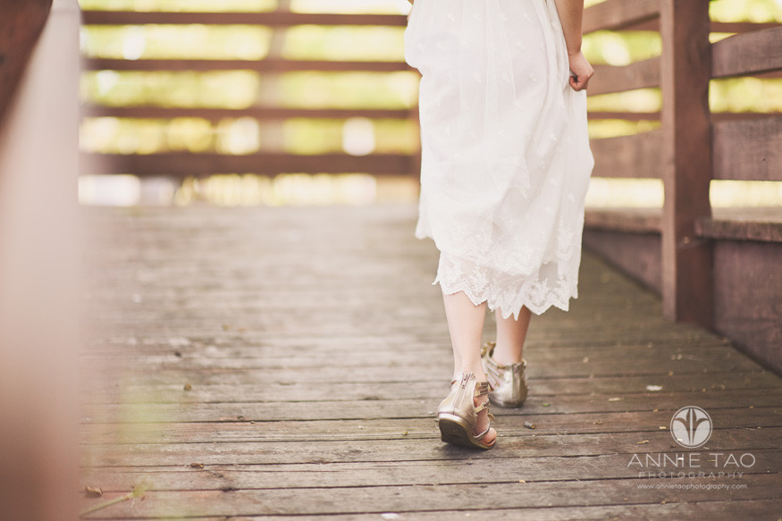 East-Bay-styled-children-photography-young-girl-walking-away-in-long-lace-dress-bottomview