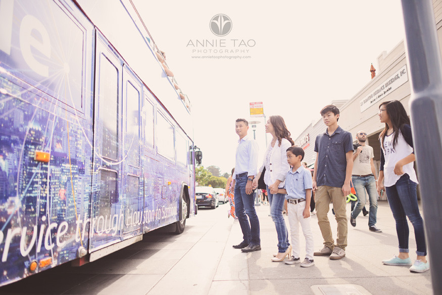 San-Francisco-lifestyle-family-photography-family-waiting-to-cross-street-blue-bus
