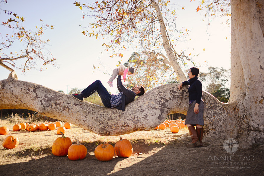 East-Bay-lifestyle-baby-photography-father-playing-with-baby-while-laying-in-big-tree