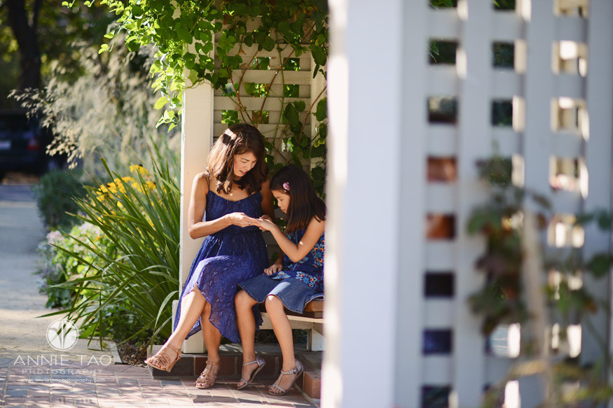 Bay-Area-San-Francisco-lifestyle-family-photography-mother-and-youngest-daughter-having-private-moment-in-garden