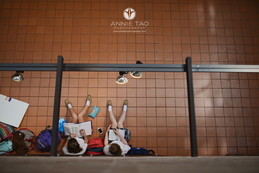 Commercial-education-photography-two-students-studying-in-hallway-view-from-above