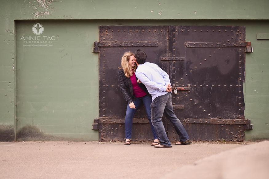 San-Francisco-engagement-photography-playful-couple-by-battery-door-1