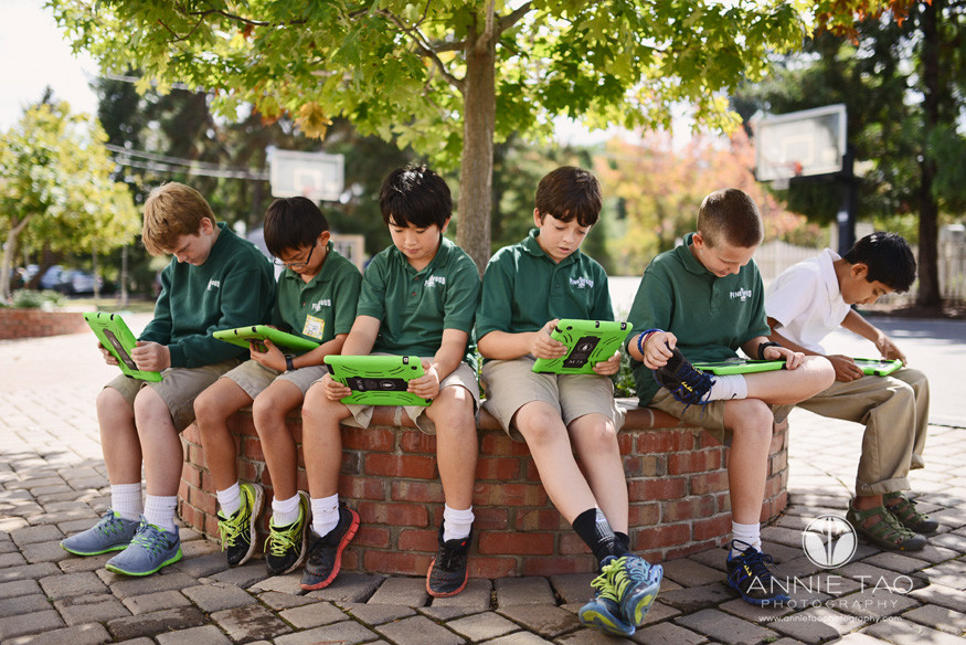 Bay-Area-Los-Altos-Commercial-Photography-school-boys-sitting-together-with-iPad