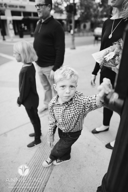 Bay-Area-lifestyle-family-photography-young-boy-pressing-pedestrian-crossing-button-BxW
