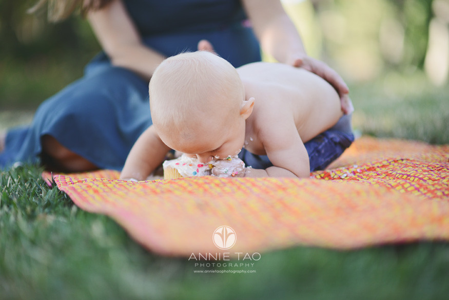 East-Bay-lifestyle-baby-photography-baby-folded-in-half-onto-birthday-cake