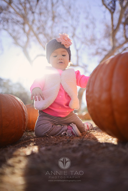 East-Bay-lifestyle-baby-photography-baby-girl-kneeling-by-pumpkins