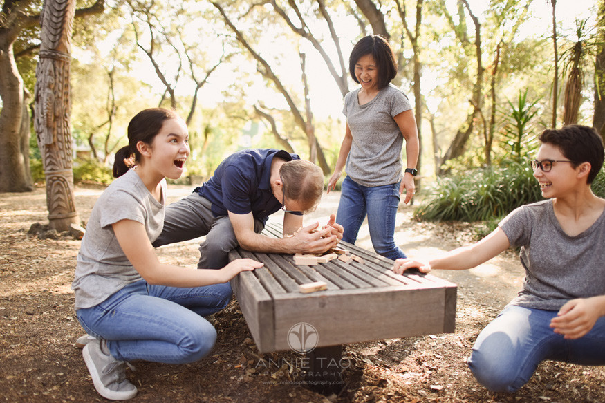 Bay-Area-lifestyle-family-teen-photography-when-Jenga-falls-in-statue-garden