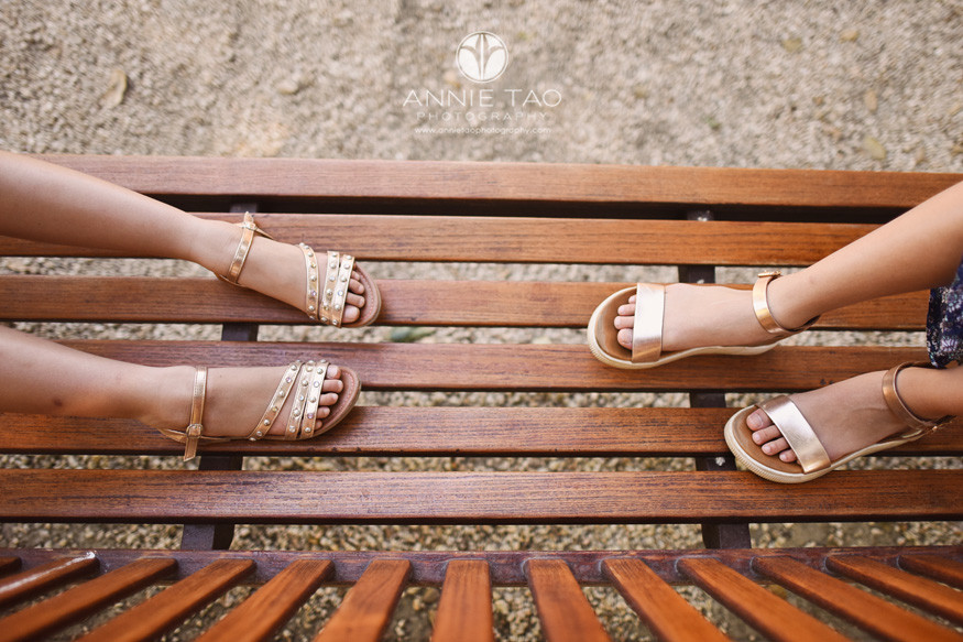 San-Francisco-Bay-Area-lifestyle-children-photography-two-girls-sitting-on-bench-view-of-feet