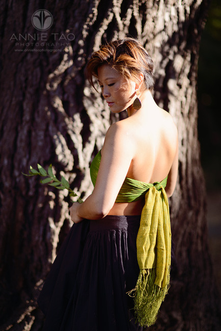 East-Bay-styled-photography-woman-with-short-hair-bare-back-and-golden-light