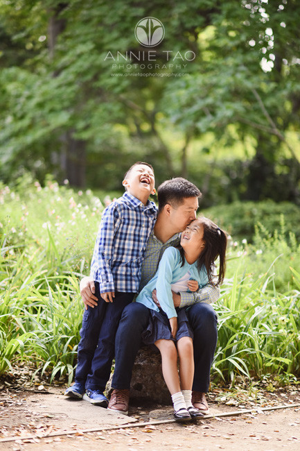 Bay-Area-lifestyle-family-photography-father-kissing-daughter-while-son-laughs