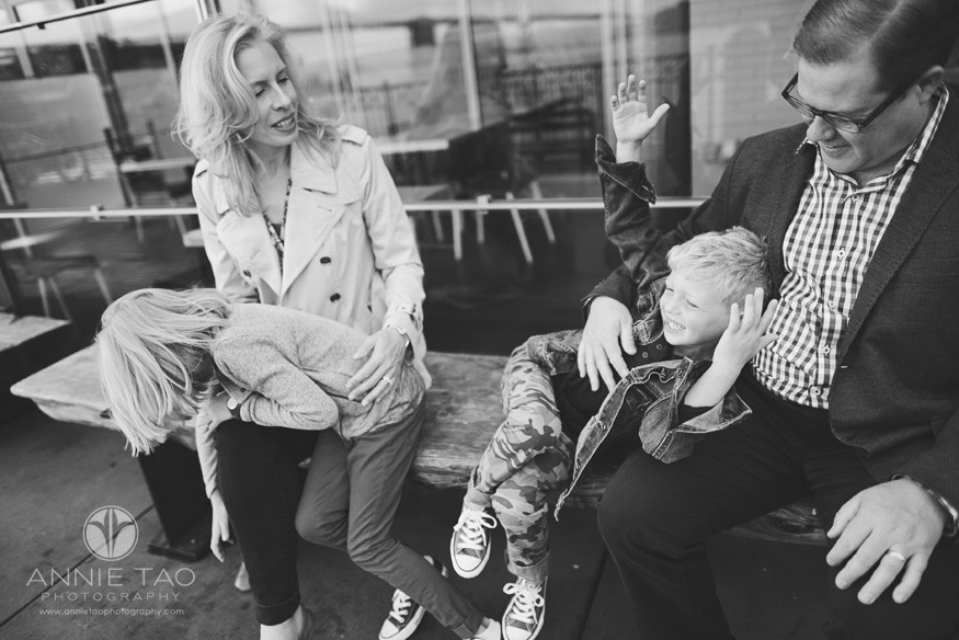 San-Francisco-lifestyle-family-photography-family-goofing-around-on-bench-BxW