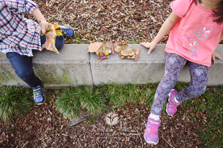 San-Francisco-lifestyle-children-photography-downward-view-of-young-kids-collecting-flowers-leaves