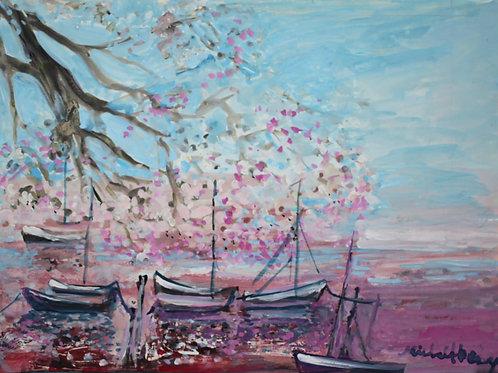 海辺の帆船