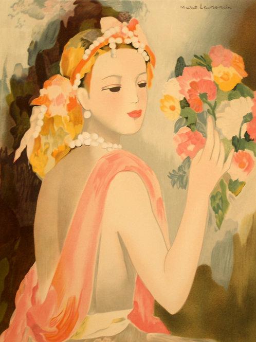 ローランサン 花束を見つめる女