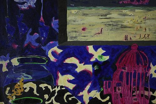 金魚と鳥籠     (油彩)