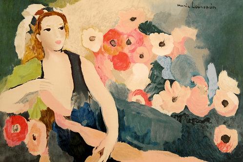 ローランサン ソファーに横たわる女