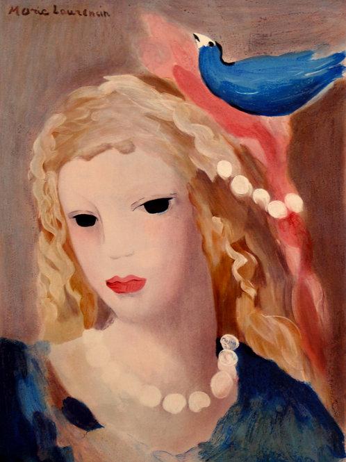 ローランサン 青い鳥と白いネックレスの少女