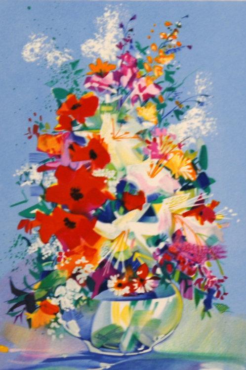 クロード・マルス 丸い透明な花瓶のブーケ