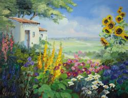 ひまわりの咲く庭