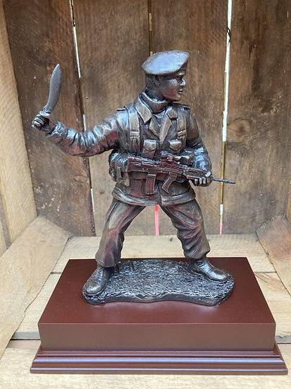 Gurkah Combat Soldier Statue on Wooden Base