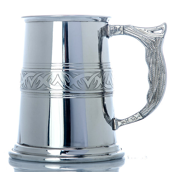 Pewter One Pint Tankard - Tribal