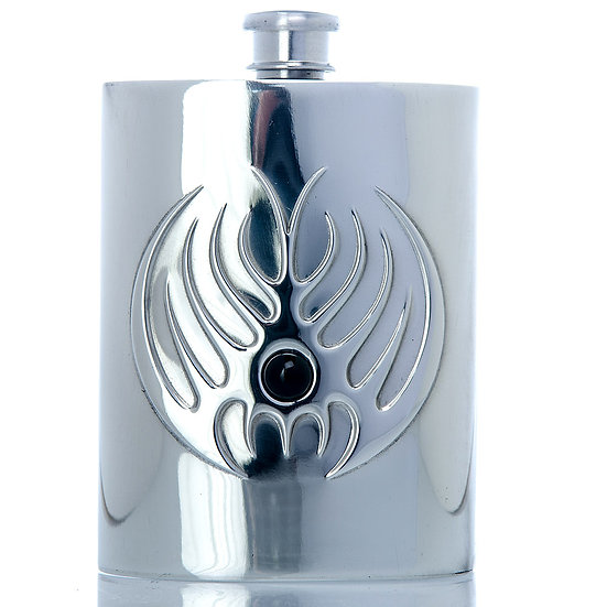 Pewter Hip Flask - 6oz with Decorative Design