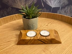 Olive Wood Hand Crafted Tealight Holder (2a)