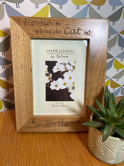 """""""Home is Where the Cat is"""" Oak Picture Frame"""