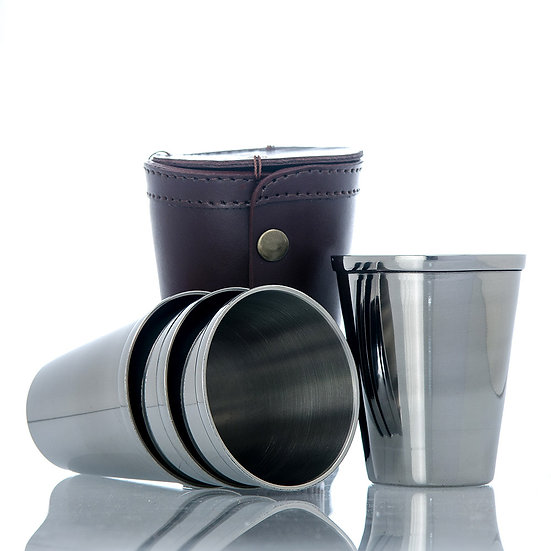 Drinking Cups in Leather Pouch