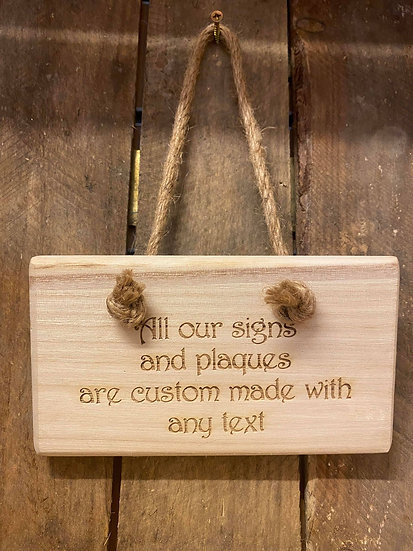 Wood Plaque Hanging Sign