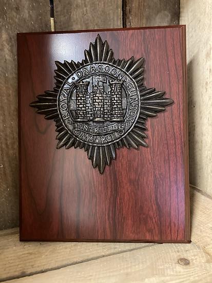 Royal Dragoon Guards Cap Badge on Wooden Plaque